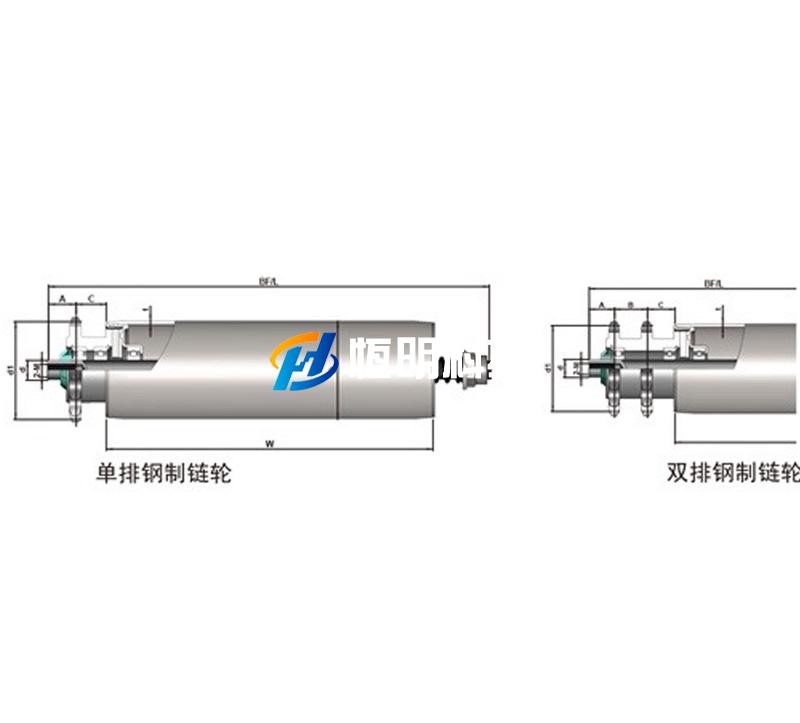 重负荷钢制单/双链可调积放辊筒